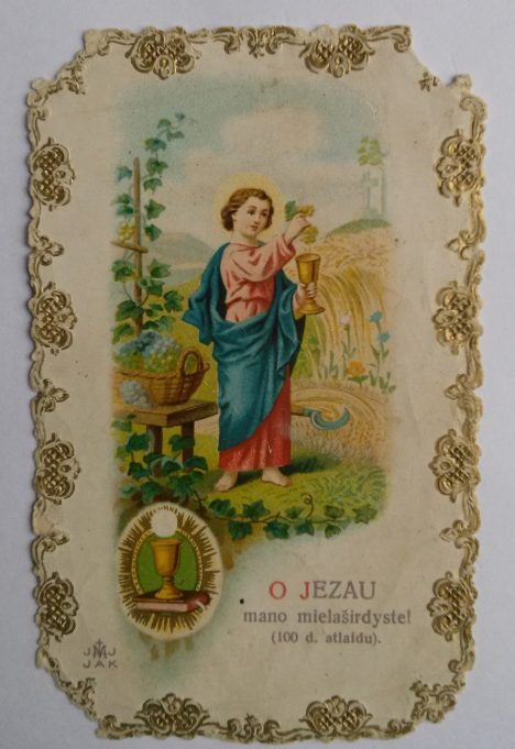 Šventas paveikslėlis su tekstu – įprastos dovanos, teiktos Onuškio bažnyčioje per Krikšto, Komunijos ir kitus sakramentus.